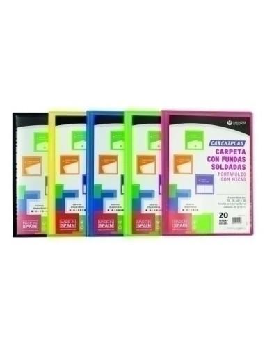 12 Sobres Polipropileno Traslucido Cierre Broche A4 Colores